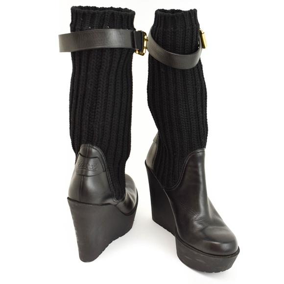 Gucci Black Leather Logo Knit Shaft